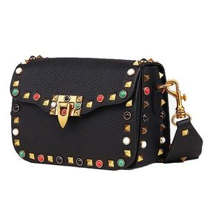 YOOME STUDDED LEATHER CROSS BODY BAG, BLK OR RED